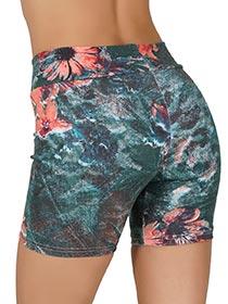 Bermuda Fitness Jade em Cotton - Verde Flor Coral
