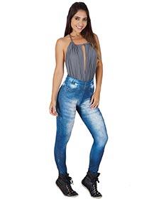 Calça Fitness Fake Jeans Aline
